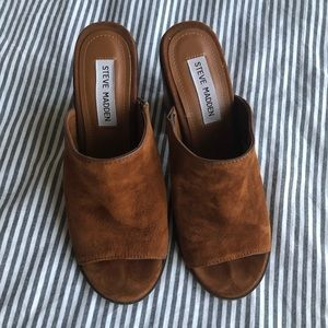 Stylish brown suede mules